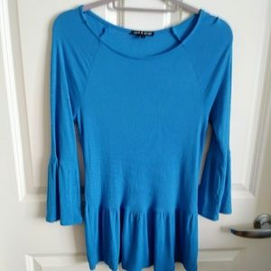 Cable and Gauge Blue tunic top size S